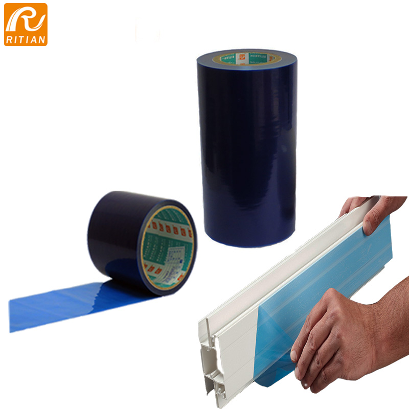 blue color 0.06mm pe protective film for pvc profiles leave no residue